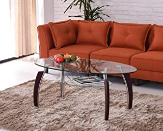 Hodedah Two Tier Oval Tempered Glass Coffee Table, Clear