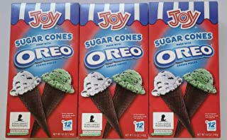 Joy Sugar Cones Made with Oreo Cookie Pieces – Multipack of 3 boxes (36 Sugar Cones – Total Net Weight 15 oz/426 g)