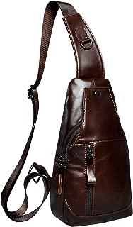 Le'aokuu Leather Mens vintage style Casual Sling Bag Designer Treasure Mini Best Travel Cycling Hiking Crossbody Chest Bag wish Zipper One Shoulder Strap Bag Packpack
