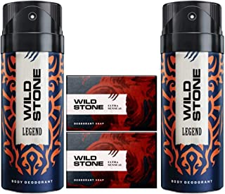 Wild Stone 2 Legend Deodorant(150ml each) and 2 Ultra Sensual Soap(125gms each) Pack of 4