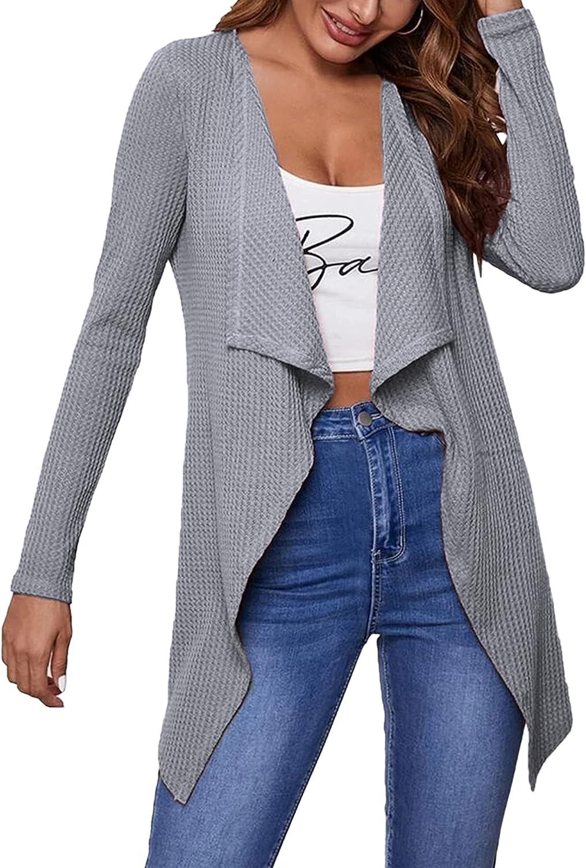 Chigant Women's Waffle Long Knited Cardigans Ruffle Drapes Lightweight Open Front Long Sleeve Sweaters Soft Coat