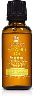 Natural Liquid Vitamin D3 | 5000iu per 5 Drops - Extra Strength - Citrus Flavor -180 doses - 6 Month Servings – Vegetarian and Gluten Free
