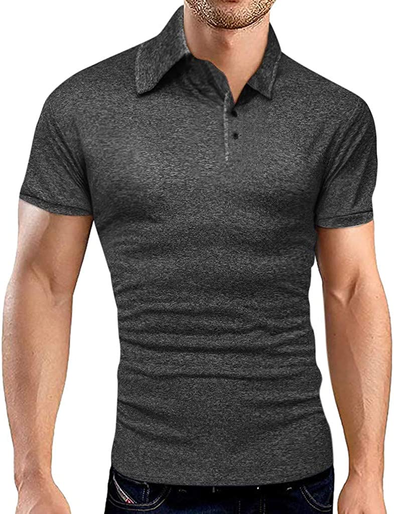 Gergeos Men Slim-Fit Business Polo Shirt Turn-Down Collar Short Sleeve Classic Fit Casual Shirt