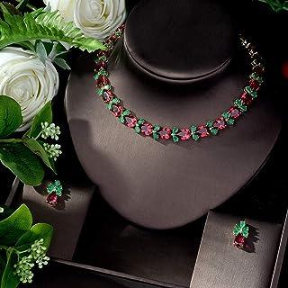 طقم مجوهرات للنساء من ماس مكعب الزركون للزفاف وعقد من ماكافليب (اللون: A)