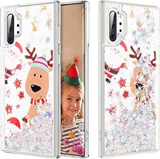 Caka Case for Galaxy Note 10 Plus Glitter Case Bling Sparkle Shining Christmas Liquid Fashion Flowing Quicksand Glitter Women Girls Silver Case for Samsung Galaxy Note 10+ Plus 5G(6.8 inch) (Moose)
