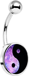 Stainless Steel Cosmic Pink and Black Yin Yang Peace Sign Belly Button Ring