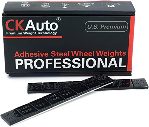 CKAuto 1/4oz, 0.25oz, Black, Adhesive Stick on Wheel Weights, EasyPeel Tape. Cars, Trucks, SUVs, Motorcycles, Low Pro...