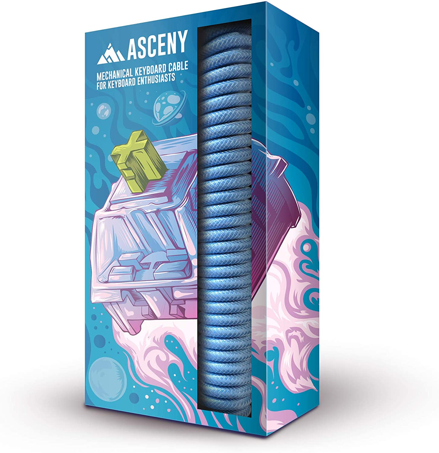 Asceny Coiled & Double-Sleeved USB Type-C Cable (Blue)