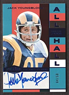 2018 Panini Plates & Patches Football All Hall Auto Blue #AH-JY Jack Youngblood 04/50 Los Angeles Rams