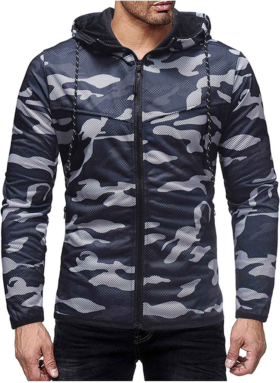 XXBR Camo Hoodies for Mens, Fall Zipper Camouflage Patchwork Drawstring Hooded Sweatshirts Slim Fit Casual Jackets