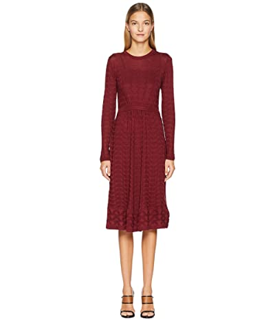 M Missoni Solid Knit Long Sleeve Dress (Wine) Women