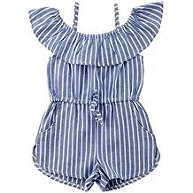 748568f8e925 Toddler Little Girl Demin Off Shoulder Ruffle Pocket Romper Jumpsuit  Clothes Set