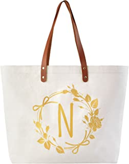 ElegantPark N Initial Personalized Gift Monogram Tote Bag with Interior Zip Pocket Canvas