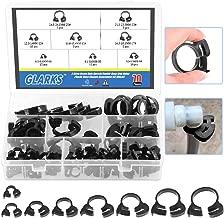 Glarks 70Pcs 8 Size Heavy Duty Black Double Gripping Nylon Hose Clamps Set, 6.6-27.2mm Plastic Snap Ratcheting Clamps Assortment Kit (Black 70Pcs)