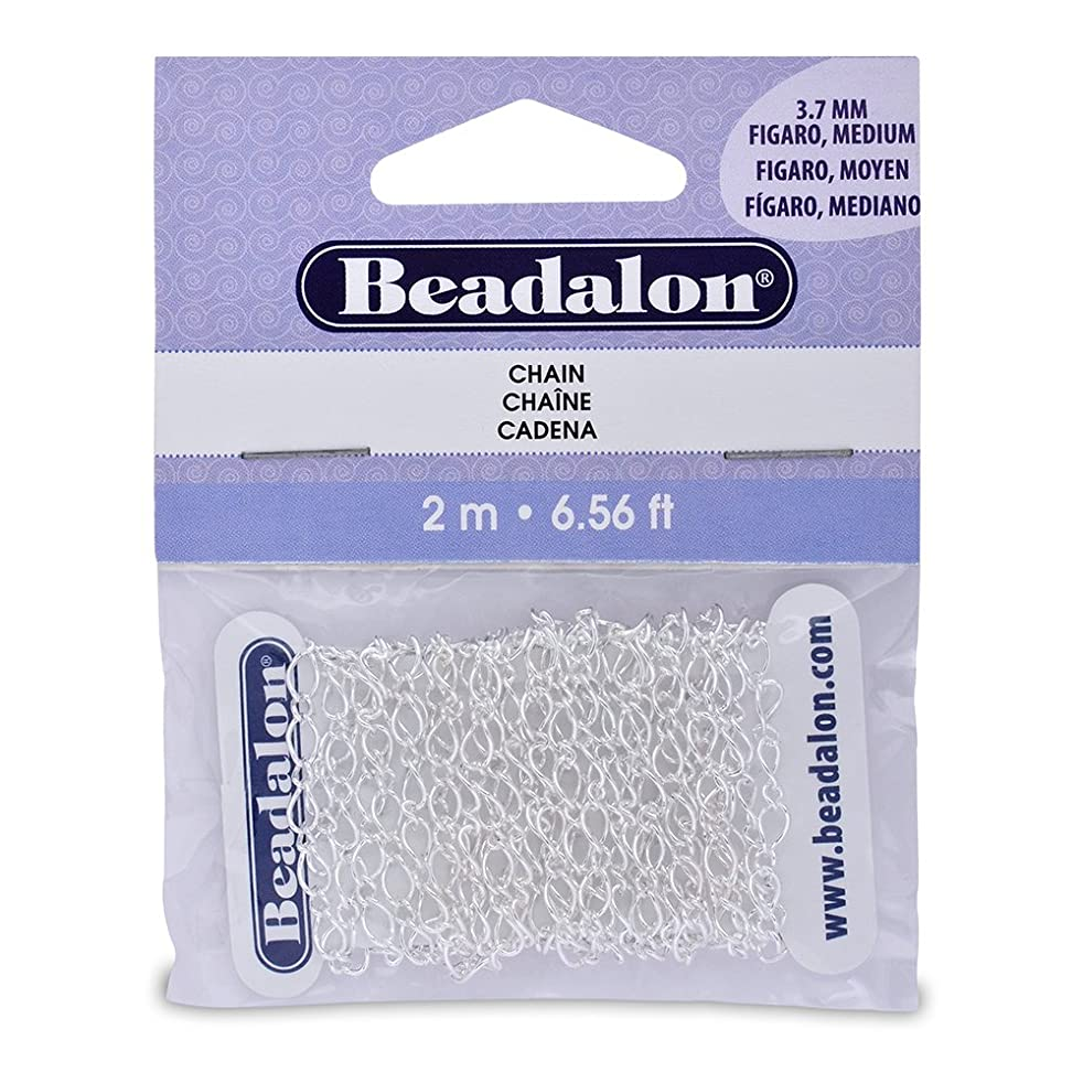 Artistic Wire Beadalon Chain Figaro Medium Silver Plated, 2-Meters