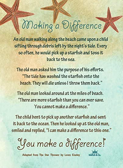 Amazon.com : Starfish Poem Story 50 Laminated Cards for People Who Make a  Difference Inspirational Appreciation Recognition Acknowledgement : Office  Products