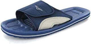 PDQ Unisex Velcro Strap Beach Flip Flops Blue