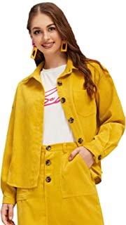 Milumia Women's Dual Pocket Corduroy Solid Jacket Single Breasted Lightweight Coat Outer Tops Yellow L