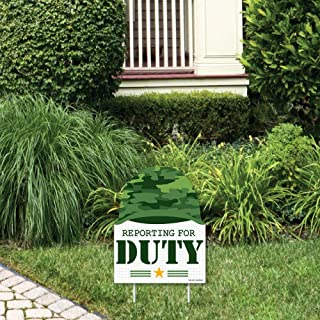 Big Dot of Happiness Camo Hero - Outdoor Lawn Sign - Army Military Camouflage Party Yard Sign - 1 Piece