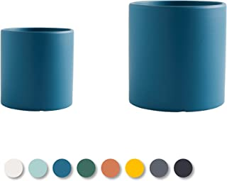 Roshi Oceanside Blue Cylinder Modern Planter, 5.5in and 4.3 inch, Set of 2, with Hole and Plug | Scrub Pot | Indoor Plant ...