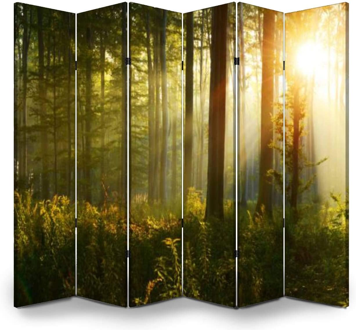 6 Panels Online limited product Room Divider Screen Year-end annual account Partition Fol Forest Morning The in