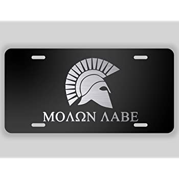 Molon Labe Spartin Helmet Vanity Front License Plate Tag KCE011 KCD