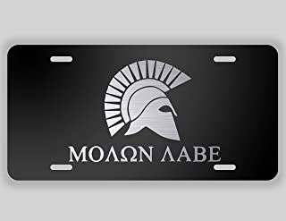 Decals Home Decor & More Molon Labe Spartan Helmet Vanity License Plate | Etched Aluminum | 6-Inches by 12-Inches | Car Truck RV Trailer Wall Shop Man Cave | VLP020