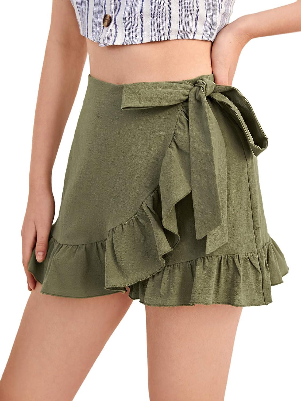 SweatyRocks Women's Casual High Waist Wrap Ruffle Hem Tie Side Shorts