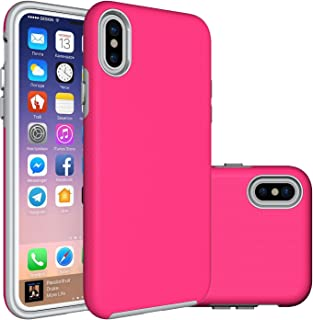iPhone X Case,Berry (TM) [Non-Slip] [Drop Protection] [Shock Proof] [Dual Lawyer] Hybrid Defender Armor Full Body Protective Rugged Holster Case Cover for iPhone X 2017 Hot Pink