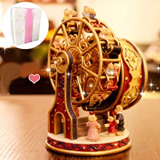 TOOGOO Wind Up Wooden Horse Karussell Karussell Spieluhr Kid Birthday Farbe Gold