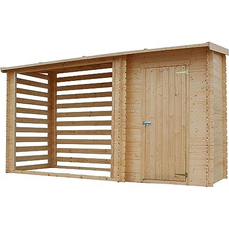 TIMBELA M205 Abri de Jardin+ Chalet pour vélos/Bucher/Abri conteneur - Cabane de Jardin avec Toit Plat - 344 x 130 cm - 2,54 m2+1,1 m2