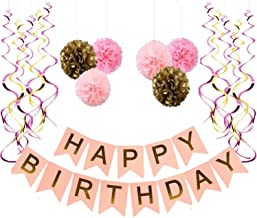 Happy Birthday Banner, With 6 Pom Pom Color Pink, Gold And Dark Pink, With 6 Hanging Swirls gold and pink, Birthday Decorations,