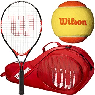 Wilson Roger Federer 23 Inch Pre-Strung Junior Tennis Racquet Set or Kit Bundled with a Red 3 Pack Tennis Bag and a 3-Pack of Orange Starter Tennis Balls (Perfect for Kids Ages 7-9)