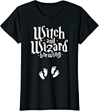 Womens Witch Or Wizard Brewing Halloween Twin Pregnant Mom Gift T-Shirt