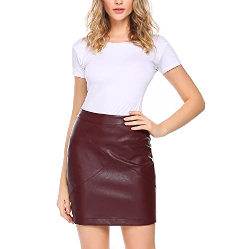 e379a47f57 Meaneor Women Classic High Waist Faux Leather Bodycon Slim Mini Pencil Skirt