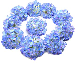 LUSHIDI 10PCS Silk Hydrangea Heads with Stems Artificial Flowers for Wedding Party Home Decor (Blue)