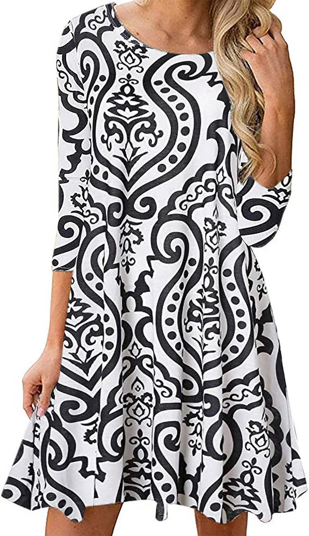Women's Boho Dress Long Sleeve Crewneck Paisley Printed Floral Summer Shift Dress for Women