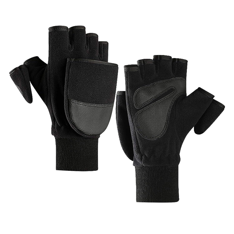 【USA In Stock】Women Men Winter Polar Fleece Half Finger Flip Gloves Double Layer Thicken Touch Screen Fingerless Convertible Mittens Wrist Warmer with Cover