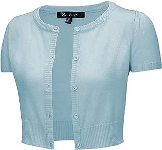 YEMAK Cap Sleeve Cropped Crewneck Cardigan Sweater Vintage Inspired Pinup CB0536 (S-L)