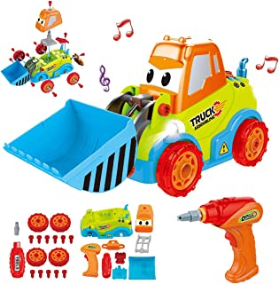 REMOKING Take Apart Construction Car Toys, STEM Building Toys 25 Pieces Assembly Truck Toys with Drill Tool, Lights and Sounds, Gifts for Kids