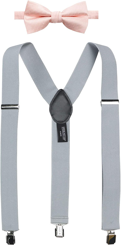 Spring Notion Men's Suspenders and Rosé Bow Tie Set