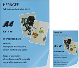 HERNGEE Self-Adhesive Laminating Sheets, One Side 50 Sheets 8.5 x 11-Inches and 50 Sheets 4 x 6-Inches