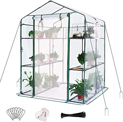 "Quictent Greenhouse Mesh Door 3 Windows 3 Tiers 12 Shelves 56"" W x 56"" D x 77"" H Walk in Outdoor Portable Plant Garden Green House 50 T-Type Plant Tags 10 Stakes 4 Ropes Include (Clear)"