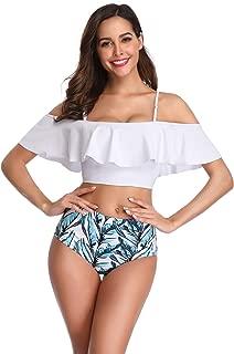 Dreamslink Women Two Piece Off Shoulder Swimsuit Crop Bikini Top Bathing Suit