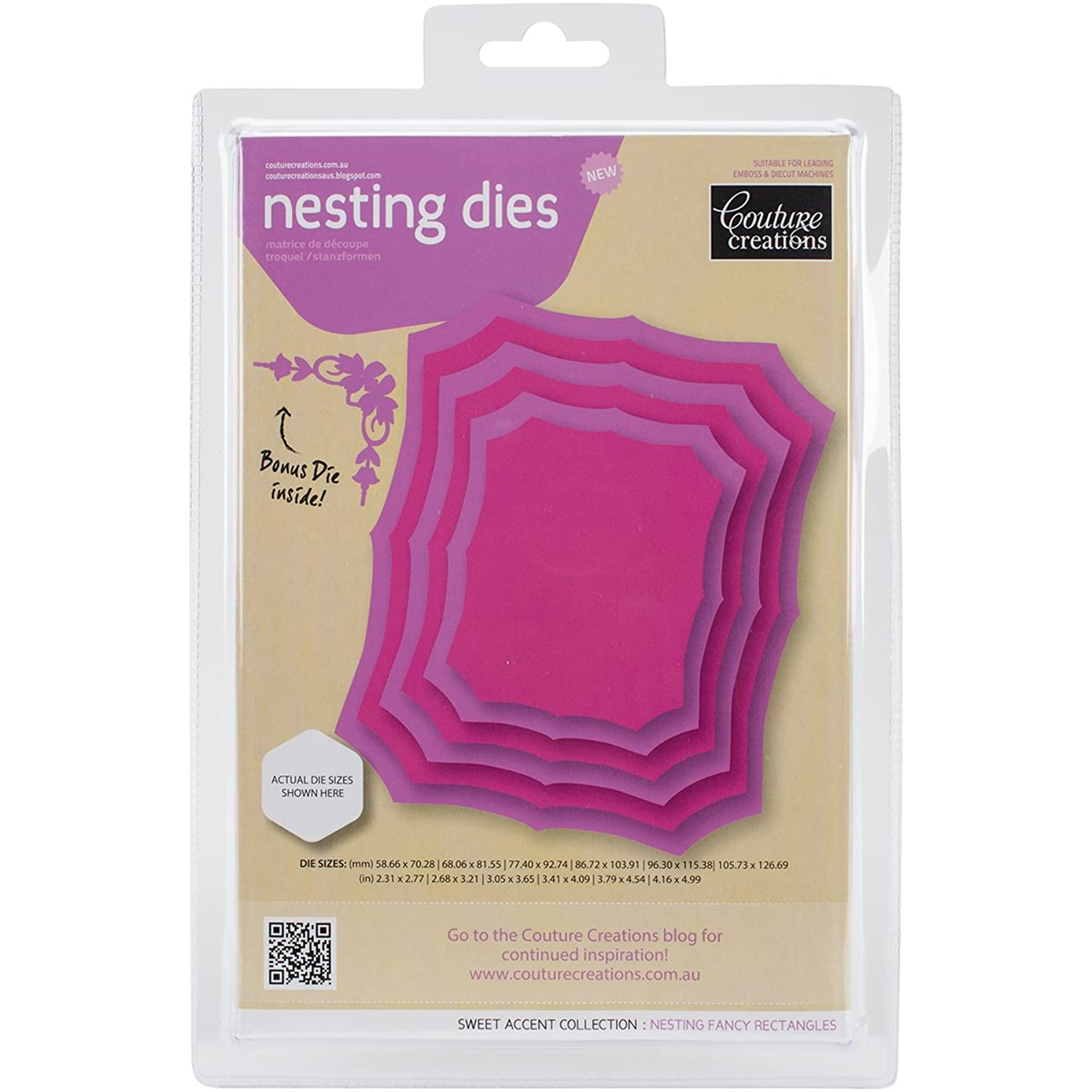 Artdeco Creations CO723957 Couture Creations Nesting Dies-Fancy Rectangles