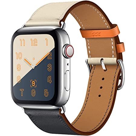 MroTech 38mm/40mm/41mm Leather Band Men Women Loop Leather Replacement Wristband Compatible with iWatch Series 41 mm 40 mm and 38 mm Series 2 Series 3 Sereis 4 Series 7 Series 6/SE Series 5 Bracelet Indigo Craie Orange