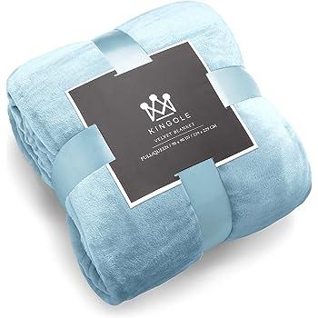 Kingole Flannel Fleece Microfiber Throw Blanket Luxury Light Blue King Size Bed