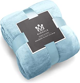 Best Kingole Flannel Fleece Microfiber Throw Blanket, Luxury Light Blue King Size Lightweight Cozy Couch Bed Super Soft and Warm Plush Solid Color 350GSM (108 x 90 inches) Review