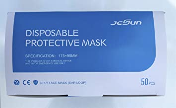 Jesun Disposable Protective Mask 3 ply w/ear loop (50 count)