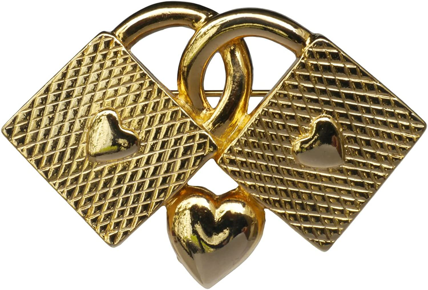 Western European Antique gold-Plated Heart-Shaped Brooch pin Badge Retro Concentric Lock